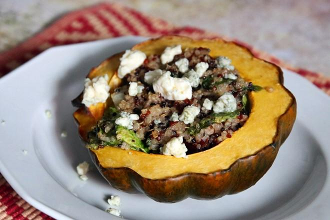 Recipe: Maple Butter Roasted Acorn Squash with Quinoa and Pecans | janavar